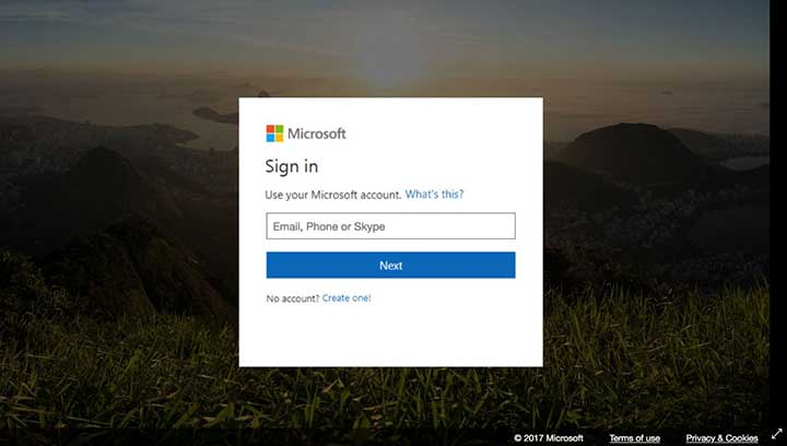 Screen shot of spoofed Microsoft Account login window